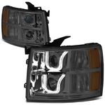 07-13 Chevy Silverado Dual LED U-Halo Projector Headlight - Smoked / Amber