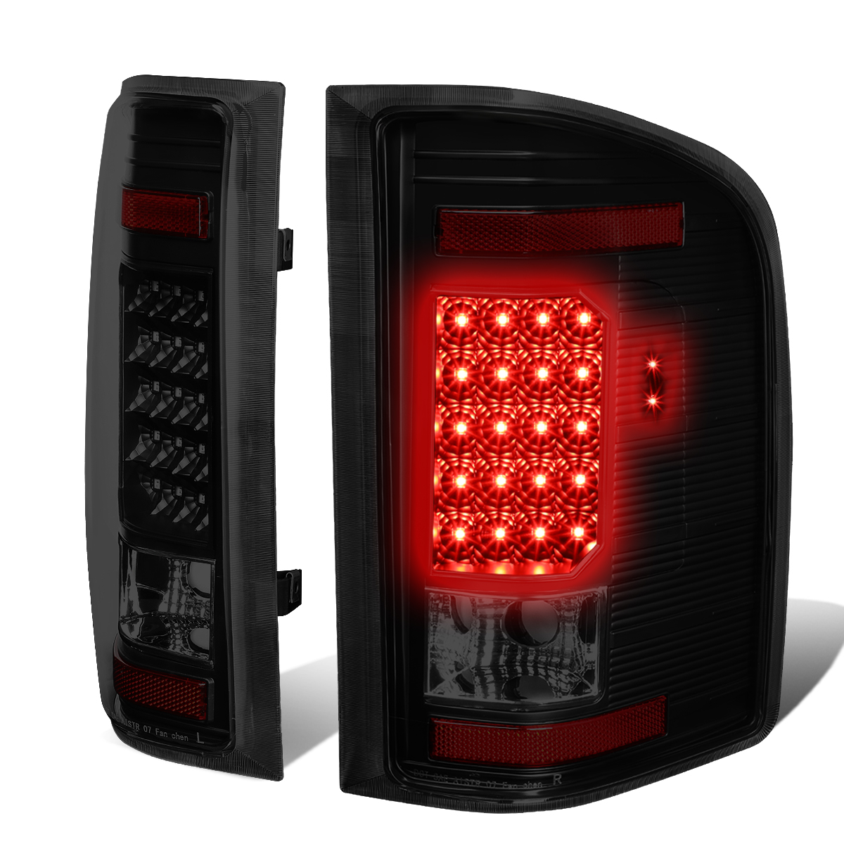 07-13 Silverado 2500 Direct Replacement Led Brake Tail Lights Lamps Smoked Red