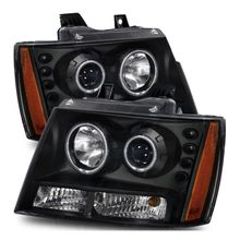 07-14 Chevy Suburban Tahoe Avalanche CCFL Angel Eye Halo Projector Headlights - Black