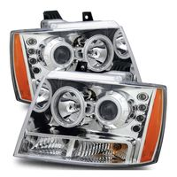 07-14 Chevy Suburban Tahoe Avalanche CCFL Angel Eye Halo Projector Headlights - Chrome