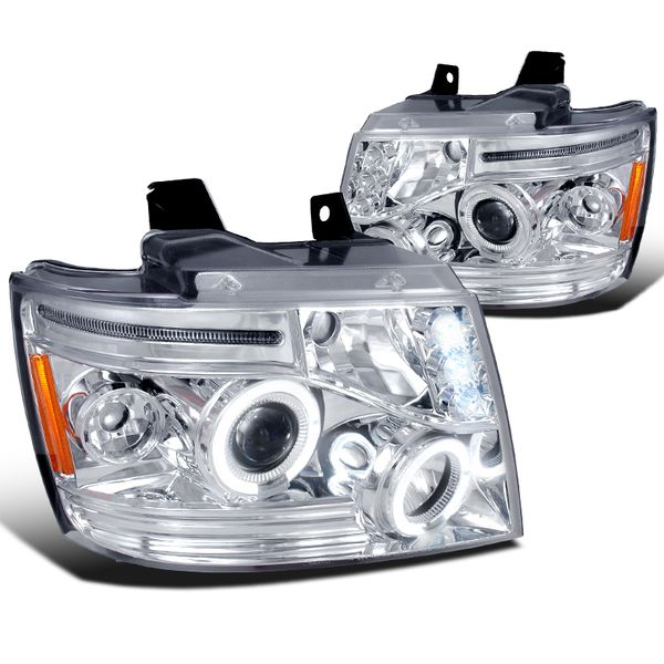 07-14 Chevy Suburban / Tahoe / Avalanche LED Halo Projector Headlights - Chrome 2LHP-AVA07-TM
