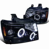 07-14 Chevy Suburban / Tahoe / Avalanche LED Halo Projector Headlights - Gloss Black 2LHP-AVA07G-TM