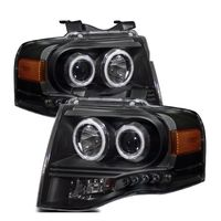 07-13 Ford Expedition CCFL Angel Eye Halo LED Projector Headlights - Black