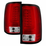 07-13 GMC Sierra 1500 / 07-14 2500 3500 LED Tube Tail Lights - Red Clear