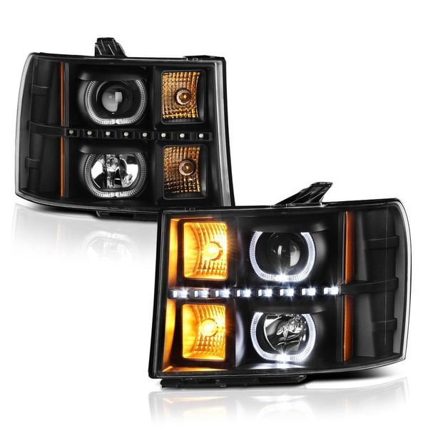 07-13 GMC Sierra 1500 2500 3500 HD SMD LED Halo Projector Headlights - Black