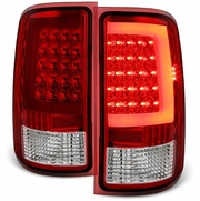 07-13 GMC Sierra C-Shaped LED Tube Red Clear Tail Lights