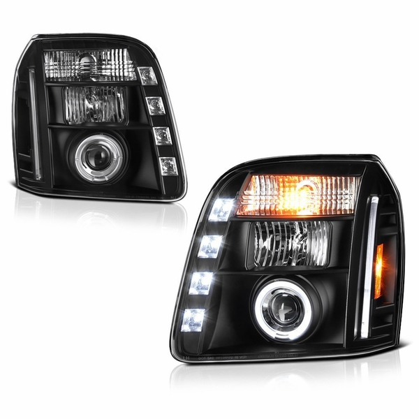 07-13 GMC Yukon / Yukon XL Angel Eye Halo & LED Projector Headlights - Black