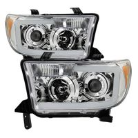 07-13 Toyota Tundra / 08-13 Sequoia LED Light Bar Projector Headlights - Chrome