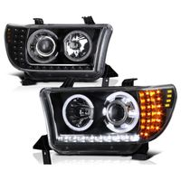 07-13 Toyota Tundra / 08-17 Sequoia LED Signal Halo Projector Headlights - Black