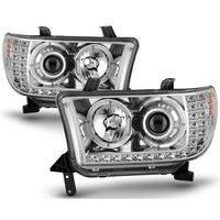 07-13 Toyota Tundra / 08-17 Sequoia LED Signal Halo Projector Headlights - Chrome