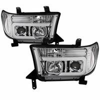 07-13 Toyota Tundra / 08-17 Sequoia LED Tube Projector Headlights - Chrome