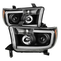 07-13 Toyota Tundra LED DRL Optic Projector Headlights - Black