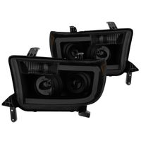 07-13 Toyota Tundra LED DRL Optic Projector Headlights - Black Smoked