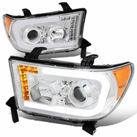 07-13 Toyota Tundra LED DRL+Turn Signal Projector Headlights - Chrome / Amber