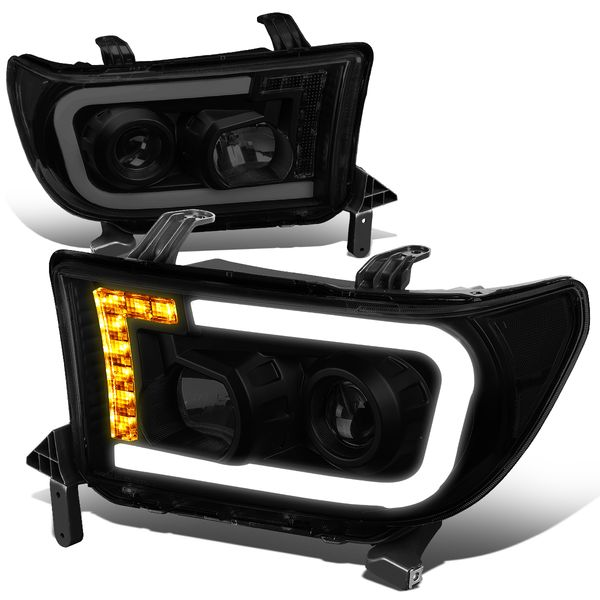 07-13 Toyota Tundra LED DRL+Turn Signal Projector Headlights - Smoked / Clear