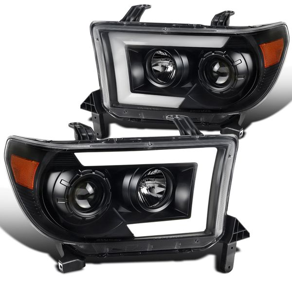 07-13 Toyota Tundra Sequoia Black LED Sequential Signal Projector Headlights - Black