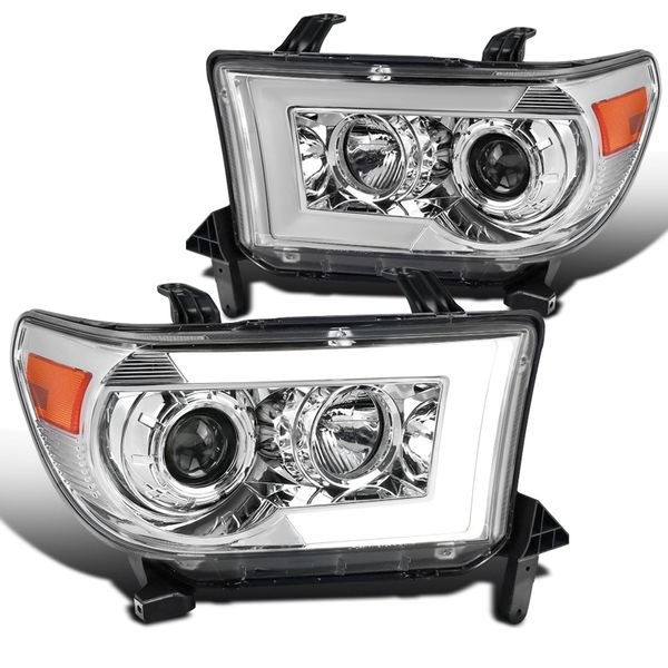 07-13 Toyota Tundra Sequoia Black LED Sequential Signal Projector Headlights - Chrome