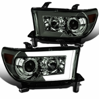 07-13 Toyota Tundra Sequoia Black LED Sequential Signal Projector Headlights - Smoked
