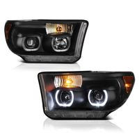 07-13 Toyota Tundra / Seuoia LED Halo Angel Eye Projector Headlights - Black