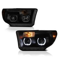 07-13 Toyota Tundra / Seuoia LED Halo Angel Eye Projector Headlights - Black Smoked