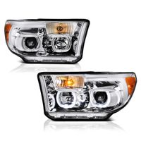 07-13 Toyota Tundra / Seuoia LED Halo Angel Eye Projector Headlights - Chrome