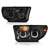 07-13 Toyota Tundra / Seuoia LED Halo Angel Eye Projector Headlights - Smoked