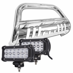 07-14 Cadillac Escalade Avalanche Suburban Tahoe Yukon Front Bull Bar Guard + 36W LED Light Bar - Polished