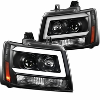 07-14 Chevy Avalanche Suburban Tahoe LED DRL Tube Projector Headlights - Black