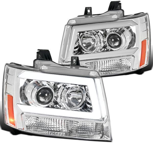 07-14 Chevy Avalanche Suburban Tahoe LED DRL Tube Projector Headlights - Chrome
