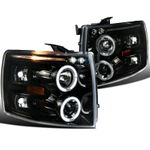 07-14 Chevy Silverado Angel Eye Halo & LED Strip Projector Headlights - Gloss Black / Clear Lens