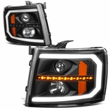 07-14 Chevy Silverado LED DRL / Sequential Signal Projector Headlights - Black / Amber