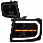 07-14 Chevy Silverado LED DRL / Sequential Signal Projector Headlights - Black Smoked / Amber