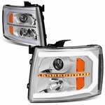 07-14 Chevy Silverado LED DRL / Sequential Signal Projector Headlights - Chrome / Amber