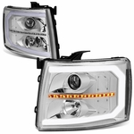 07-14 Chevy Silverado LED DRL / Sequential Signal Projector Headlights - Chrome / Clear