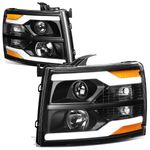 07-14 Chevy Silverado LED DRL Tube Projector Headlights - Black / Amber