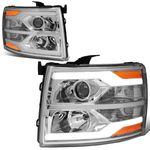07-14 Chevy Silverado LED DRL Tube Projector Headlights - Chrome / Amber