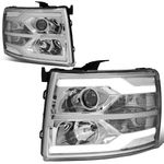 07-14 Chevy Silverado LED DRL Tube Projector Headlights - Chrome / Clear