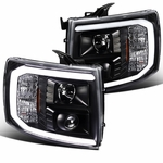 07-14 Chevy Silverado Optic LED DRL Projector Headlights - Black