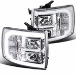 07-14 Chevy Silverado Optic LED DRL Projector Headlights - Chrome