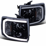 07-14 Chevy Silverado Optic LED DRL Projector Headlights - Gloss Black