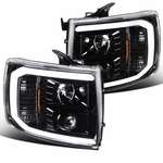 07-14 Chevy Silverado Optic LED DRL Projector Headlights - Pearl Black