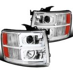07-14 Chevy Silverado Pickup Clear LED DRL Bar Projector Headlights