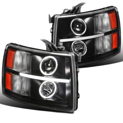 07-14 Chevy Silverado Pickup LED DRL Halo Projector Headlights - Black