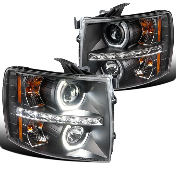 07-14 Chevy Silverado Pickup LED U-Ring Projector Headlights - Black