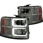 07-14 Chevy Silverado Pickup Smoked LED DRL Bar Projector Headlights