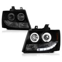 07-14 Chevy Suburban / Tahoe / Avalanche  Angel Eye Halo & LED Projector Headlights - Black Smoked