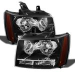 07-14 Chevy Suburban Tahoe Avalanche Crystal Replacement Headlights - Black