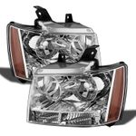 07-14 Chevy Suburban Tahoe Avalanche Crystal Replacement Headlights - Chrome