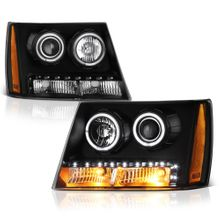 07-14 Chevy Suburban Tahoe Avalanche LED DRL Halo Projector Headlights - Black