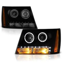 07-14 Chevy Suburban Tahoe Avalanche LED DRL Halo Projector Headlights - Black Smoked